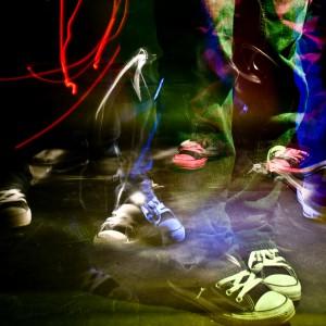 Lightpainting-im studio mit füßen